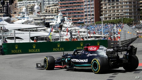 Mercedes driver Lewis Hamilton of Britain steers his car during the first free practice for Sunday's Formula One race, at the…