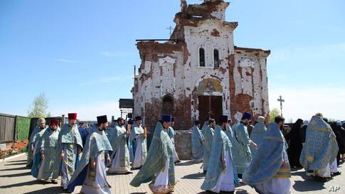Priests attend a religion procession celebrating Orthodox Easter at the Iversky Monastery a monastery of the Ukrainian Orthodox…