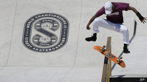 Jesus Munoz Cortez of Chile competes in the Street Skateboarding World Championships, a qualifying event for Tokyo Olympic…