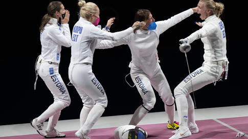 Estonia team celebrates after winning the Women's Epee team final at the 2020 Summer Olympics, Tuesday, July 27, 2021, in Chiba…