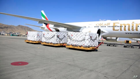 First shipment of 1.4 million Johnson & Johnson COVID-19 vaccine doses, arrives at the Hamid Karzai International Airport, in…
