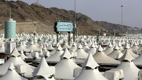 A tent camp for pilgrims is set up in Mina, near the Muslim holy city of Mecca, ahead of the upcoming annual hajj pilgrimage,…