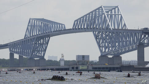 Athletes train during a rowing training session at the 2020 Summer Olympics, Monday, July 26, 2021, in Tokyo, Japan. (AP Photo…