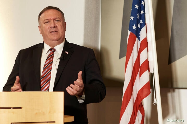 Danish Foreign Minister Jeppe Kofod and U.S. Secretary of State Mike Pompeo hold a joint news conference in Copenhagen, Denmark…