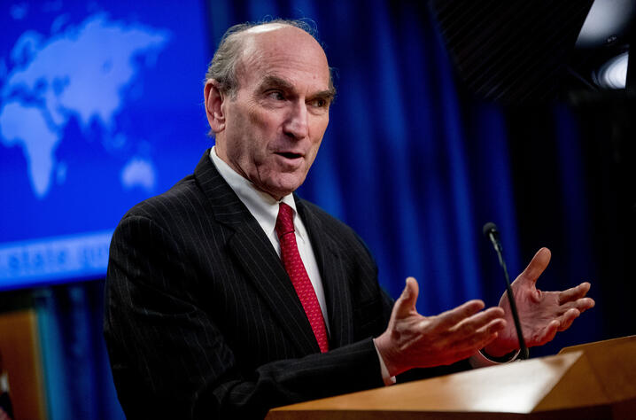 Special Representative for Venezuela Elliott Abrams speaks at a news conference, Tuesday, March 31, 2020, in Washington. (AP…
