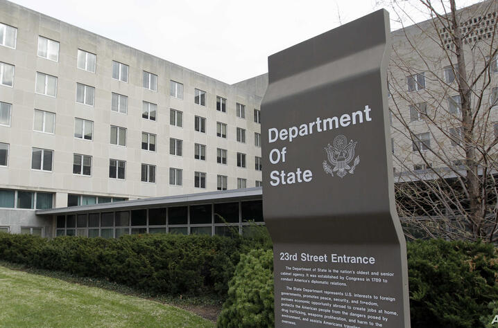 The State Department in Washington, Monday, Dec. 15, 2014. Authorities say an electrical transformer explosion has caused power…