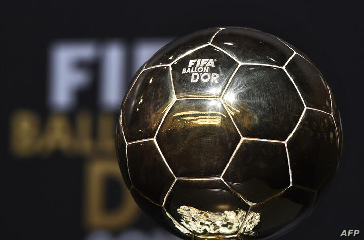 (FILES) In this file photo taken on January 11, 2016 the 2015 FIFA Ballon d'Or trophy is on display ahead of the award ceremony…