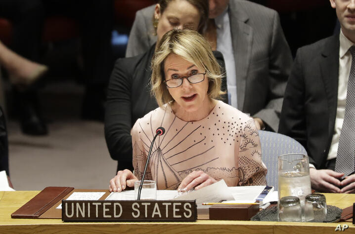 United States ambassador to the United Nations Kelly Craft speaks during a Security Council meeting at United Nations…