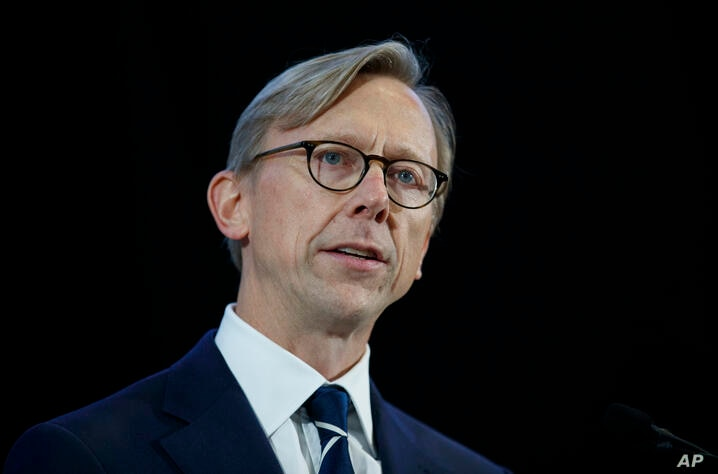 FILE - In this Nov. 29, 2018 file photo, Brian Hook, U.S. special representative for Iran, speaks at the Iranian Materiel…
