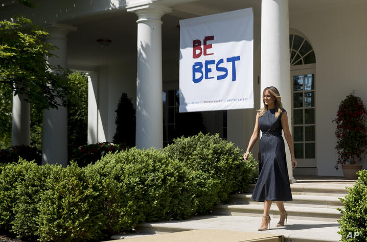 FILE - In this May 7, 2019 file photo, first lady Melania Trump arrives for a one year anniversary event for her Be Best…