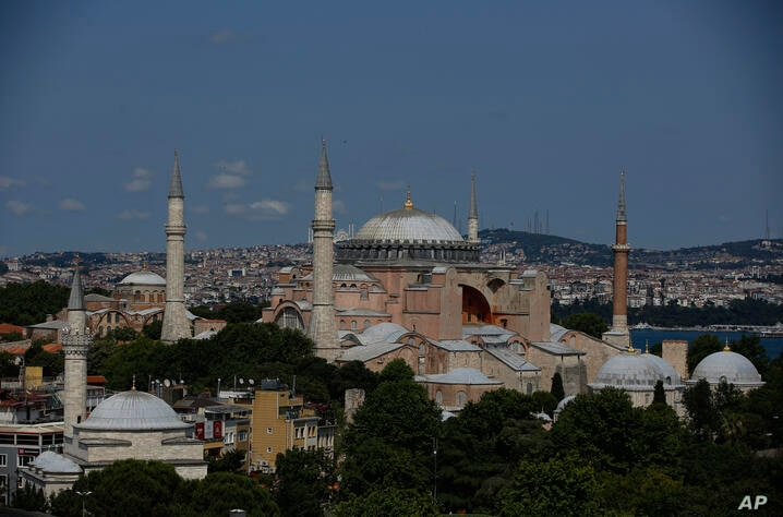 An aerial view of the Byzantine-era Hagia Sophia, one of Istanbul's main tourist attractions in the historic Sultanahmet…