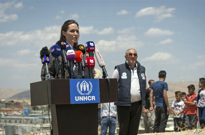 Special Envoy of the United Nations High Commissioner for Refugees (UNHCR), Angelina Jolie, gives a press conference in the…