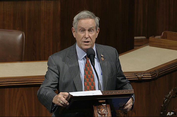 Rep. Joe Wilson, R-S.C., speaks as the House of Representatives debates the articles of impeachment against President Donald…