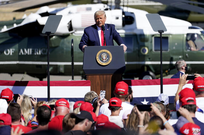President Donald Trump speaks at a campaign rally, Monday, Oct. 19, 2020, in Prescott, Ariz. (AP Photo/Matt York)