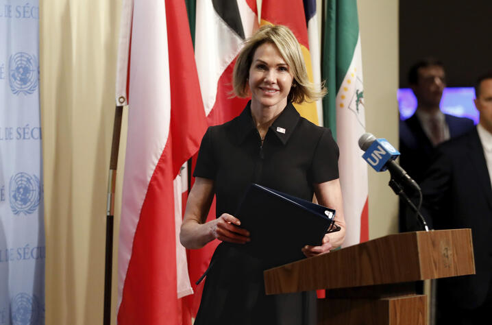 New U.S. Ambassador Kelly Craft walks to the podium to address the press after attending her first Security Council meeting, at…