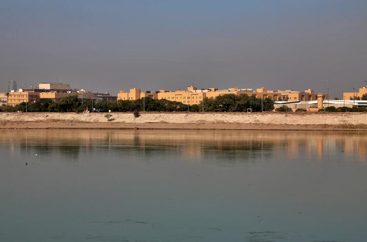 FILE - In this Friday, Jan. 3, 2020, file photo, the U.S. Embassy is seen across the Tigris River in Baghdad, Iraq. Iraq's…