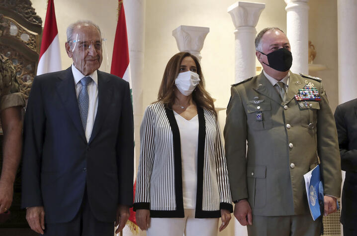 Lebanese Parliament Speaker Nabih Berri, left, the Head of Mission and Force Commander of the United Nations Interim Force in…