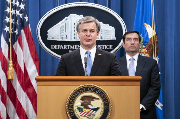 FBI Director Christopher Wray speaks during a virtual news conference at the Department of Justice, Wednesday,  Oct. 28, 2020…