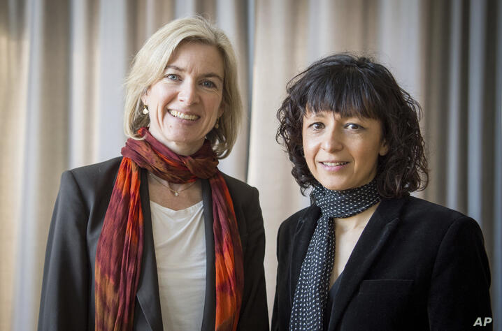 FILE -- In this March 14, 2016 file photo American biochemist Jennifer A. Doudna, left, and the French microbiologist…