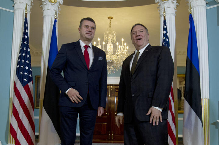 Secretary of State Mike Pompeo accompanied by Estonian Foreign Minister Urmas Reinsalu speaks to the media before a private…