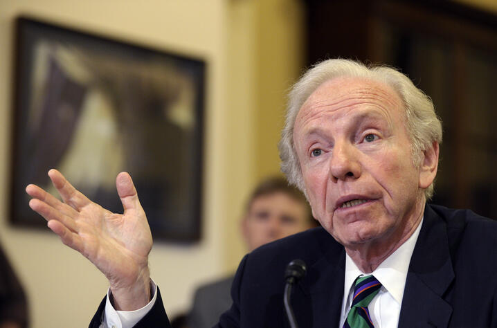 "Former Sen. Joe Lieberman, I-Conn., testifies before the House Homeland Security Committee at a hearing on ""The Boston Bombings…"