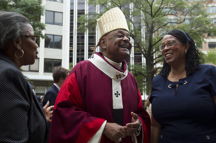 FILE  - In this Sunday Oct. 6, 2019, file photo, Washington D.C. Archbishop Wilton Gregory greets churchgoers at St. Mathews…