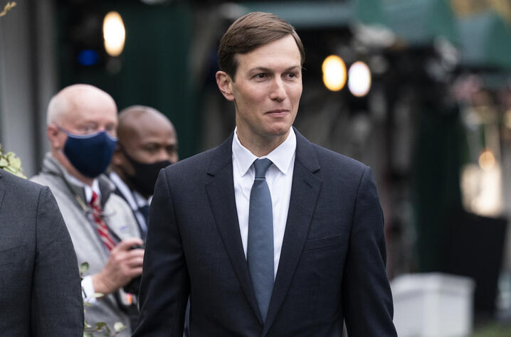 White House senior adviser Jared Kushner walks back to the West Wing after a television interview at the White House, Monday,…