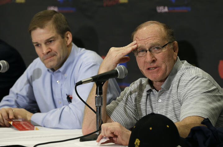 Former Iowa wrestling coach Dan Gable, right, speaks during a news conference by the Committee for the Preservation of Olympic…