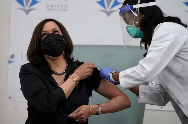 Vice President-elect Kamala Harris receives the Moderna COVID-19 vaccine from nurse Patricia Cummings, Tuesday Dec. 29, 2020,…