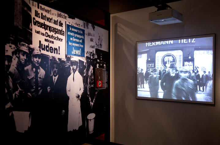 """In this Thursday, April 25, 2013 photo, video and imagery are seen during a preview of the new exhibit """"Some Were Neighbors:…"""
