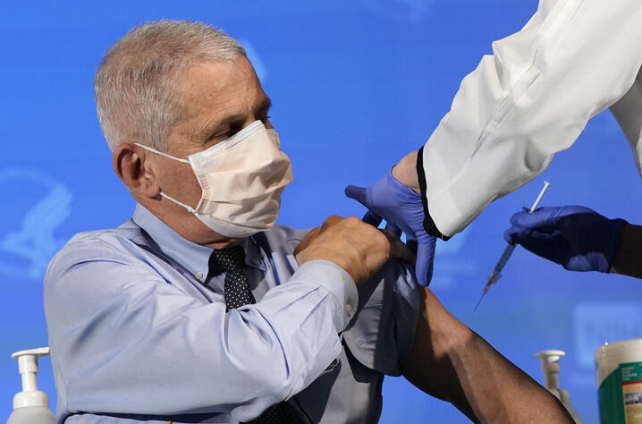 FILE - In this Dec. 22, 2020, file photo, Dr. Anthony Fauci, director of the National Institute of Allergy and Infectious…