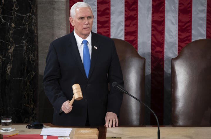 Vice President Mike Pence officiates as a joint session of the House and Senate convenes to confirm the Electoral College votes…