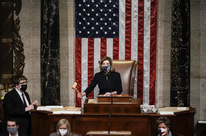 Speaker of the House Nancy Pelosi, D-Calif., gavels in the final vote of the impeachment of President Donald Trump, for his…