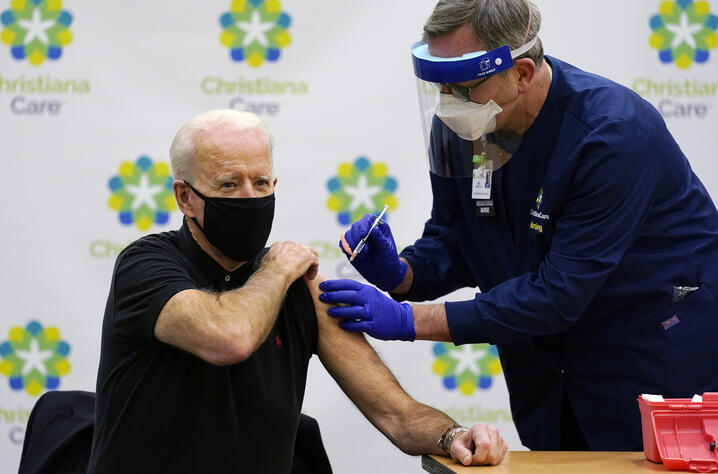 President-elect Joe Biden receives his second dose of the coronavirus vaccine at ChristianaCare Christiana Hospital in Newark,…