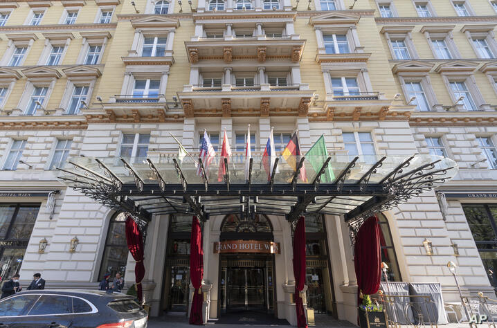 Exterior view of the 'Grand Hotel Wien' in Vienna, Austria, Friday, April 9, 2021 where closed-door nuclear talks with Iran…