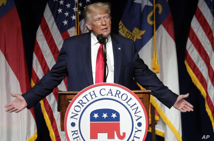 Former President Donald Trump speaks at the North Carolina Republican Convention Saturday, June 5, 2021, in Greenville, N.C. …