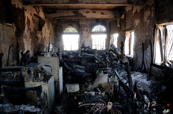In this picture taken Tuesday, Feb. 2, 2016, damage is seen at the National Museum in the war-torn city of Taiz, Yemen. The…