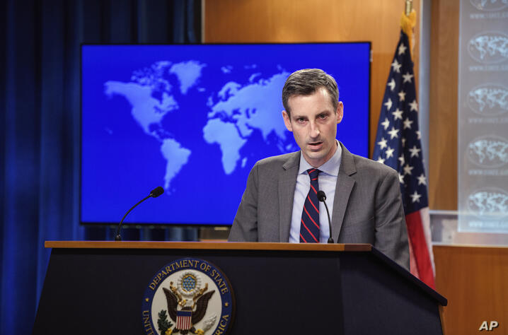 State Department spokesman Ned Price speaks during daily press briefing at the State Dept., Monday, Feb. 22. 2021 in Washington…