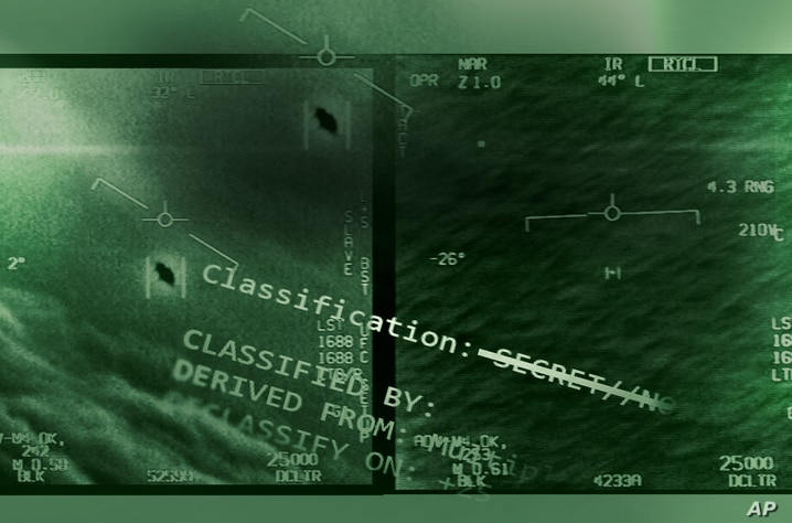 US NAVY unclassified video labeled GIMBAL and GOFAST recorded by USS Theodore Roosevelt carrier strike group in 2015, on…