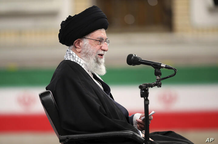 In this picture released by the official website of the office of the Iranian supreme leader, Supreme Leader Ayatollah Ali…
