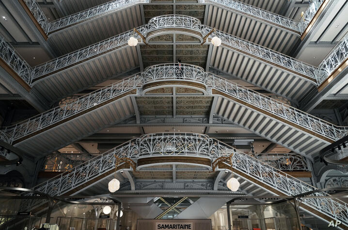 View of the staircase inside the revamped Samaritaine department store ahead of its reopening after 16 years of closure, in…