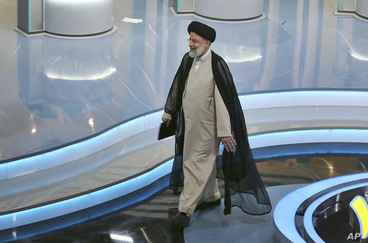 In this picture made available by Young Journalists Club, YJC, presidential candidate for June 18, elections Ebrahim Raisi…
