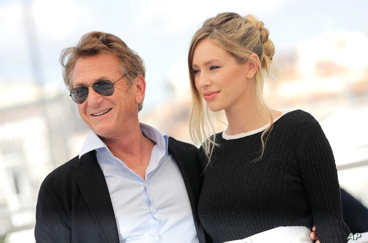 Sean Penn, left, and Dylan Penn pose for photographers at the photo call for the film 'Flag Day' at the 74th international film…