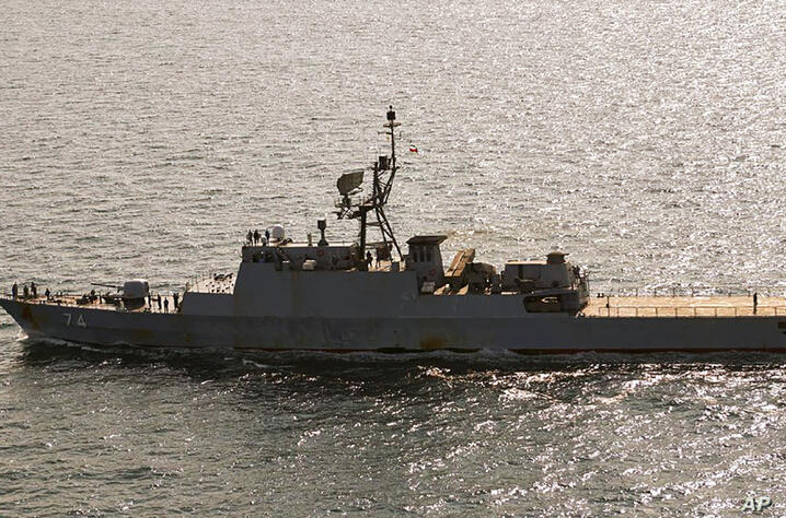 In this handout photo from the Royal Danish Air Force, the Iranian navy destroyer Sahand is seen sailing through the Baltic Sea…