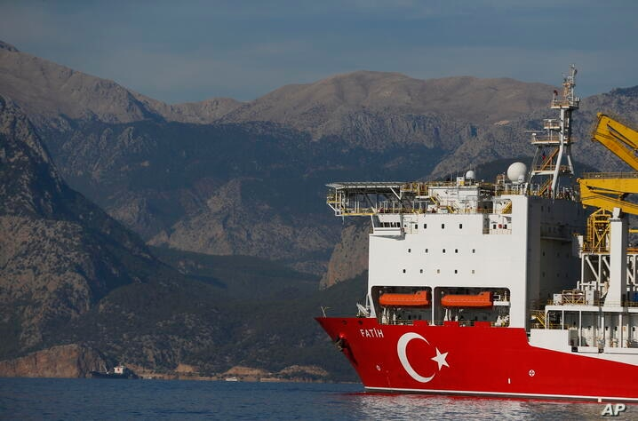 In this photo taken on Tuesday, Oct. 30, 2018, Turkey's new drillship 'Conquerer' is seen off the coast of Antalya, southern…