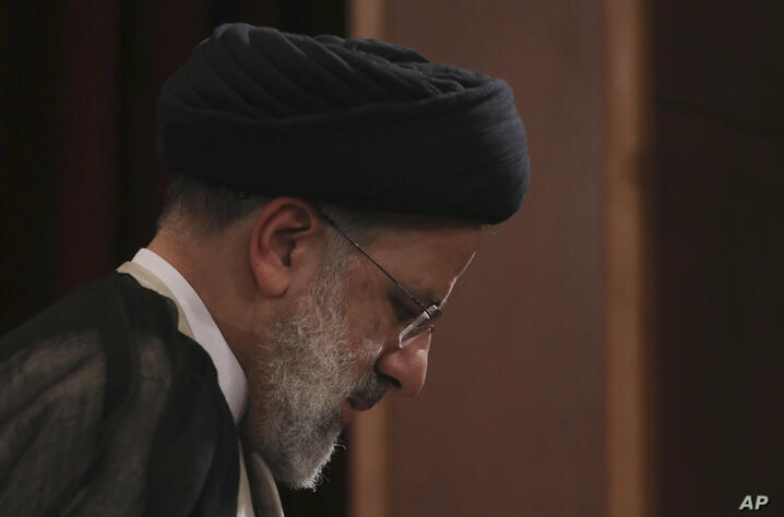 ALTERNATE CROP FOR VAH101 — Iran's new President-elect Ebrahim Raisi leaves at the conclusion of his press conference in Tehran…
