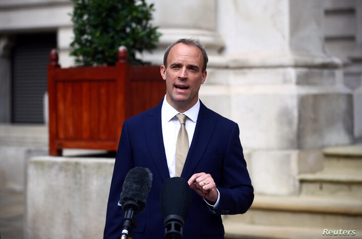 Britain's Foreign Secretary Dominic Raab makes a statement on Hong Kong's national security legislation in London