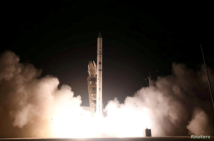 A new Israeli spy satellite, called Ofek 16, is shot into space from a site in central Israel July 6, 2020. Israel Ministry of Defense Spokesperson's Office/Handout via REUTERS