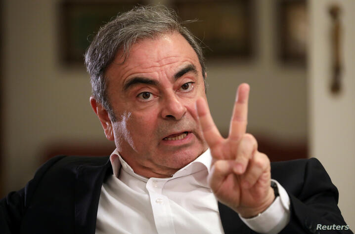 FILE PHOTO: Former Nissan chairman Carlos Ghosn talks during an exclusive interview with Reuters in Beirut