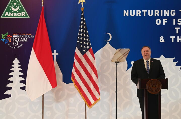 U.S. Secretary of State Pompeo meets General Secretary of Nahdlatul Ulama, Yahya Cholil Staquf, in Jakarta